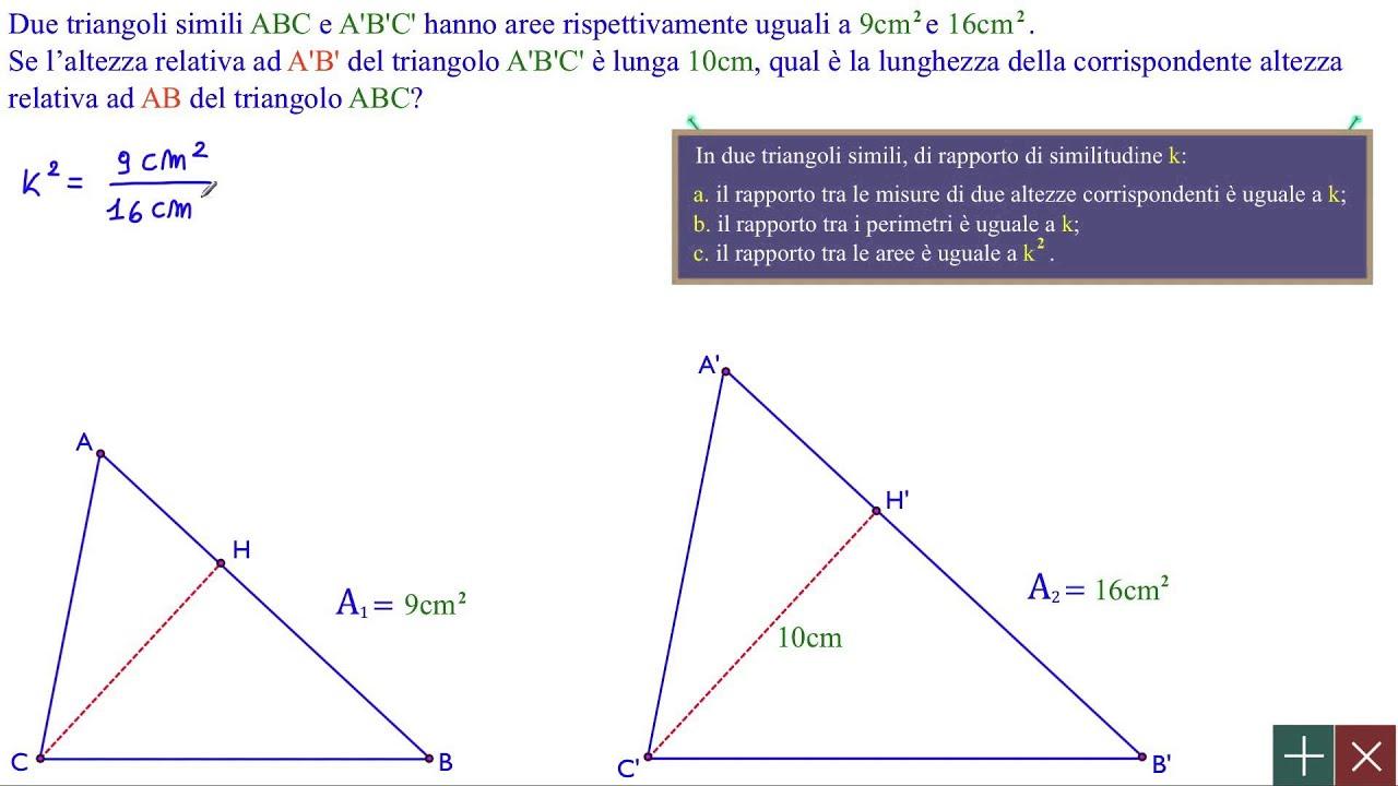 geometria similitudine e triangoli simili rapporto di