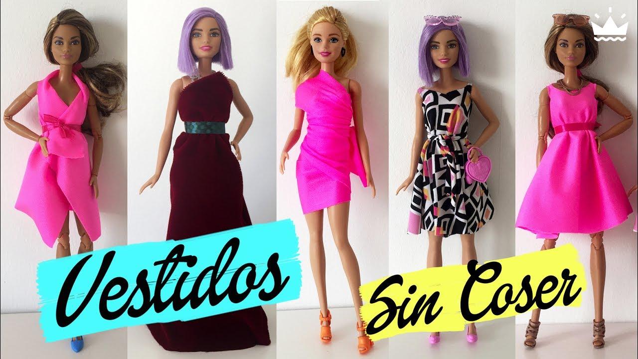 Cómo hacer VESTIDOS para Barbie ¡Sin coser! Ropa para