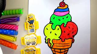 help  to draw ice cream for kids   ice cream help to color