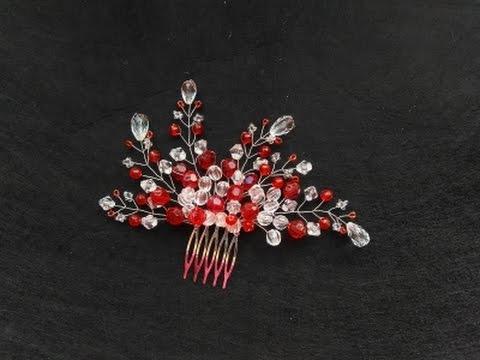 "Гребень ""Рубин"".  Плетение из проволоки и бусин/Wire And Beads. Tutorial   Jo Handmade"