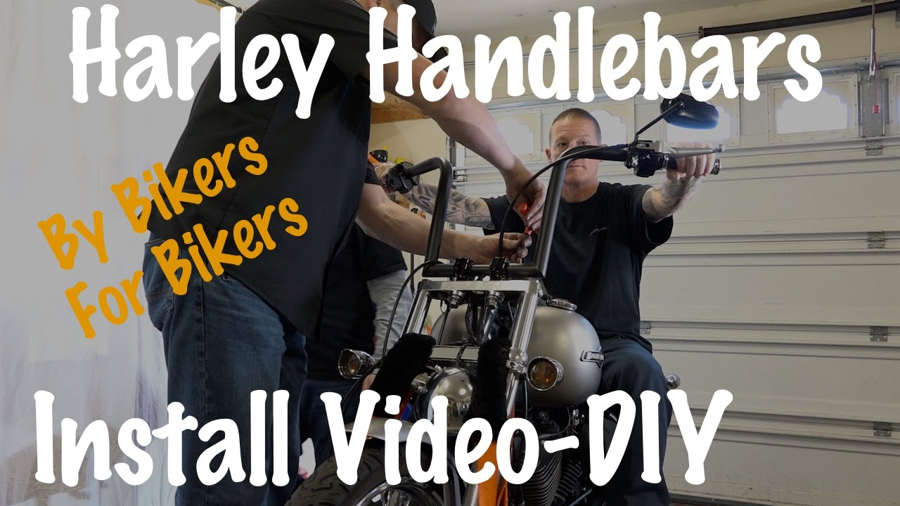 Install Handlebars Harley Softail Dyna Sportster Touring Extend 84 Wiring Diagram Wired Cables Youtube