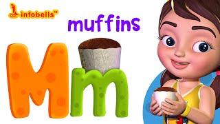 Phonics Songs for Kids | M is for Muffins | Alphabet Sounds for Children | Infobells