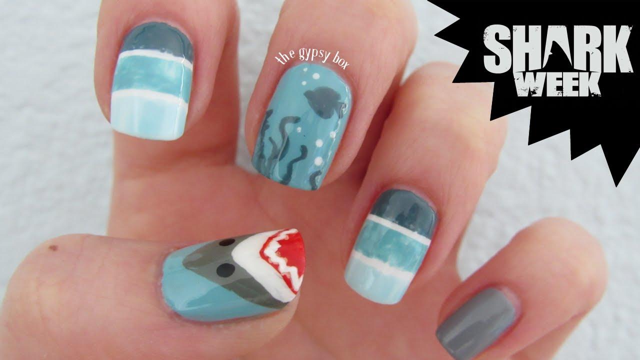 Shark Week Nail Art Design | TheGypsyBox - YouTube