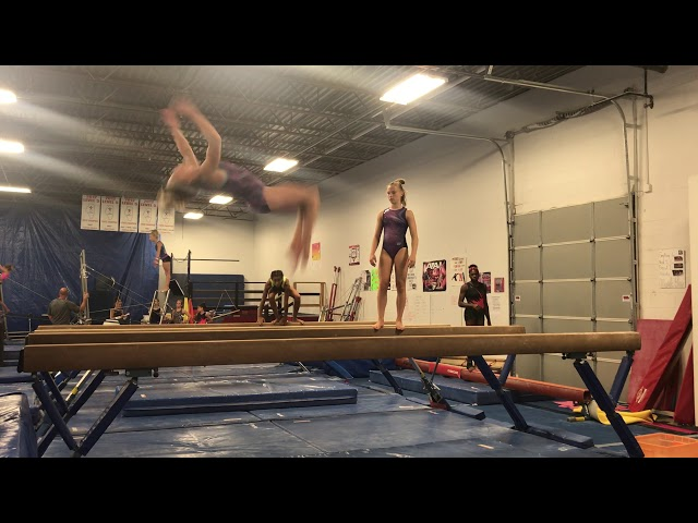 Switch Half + Back Tuck on Beam   August 2018