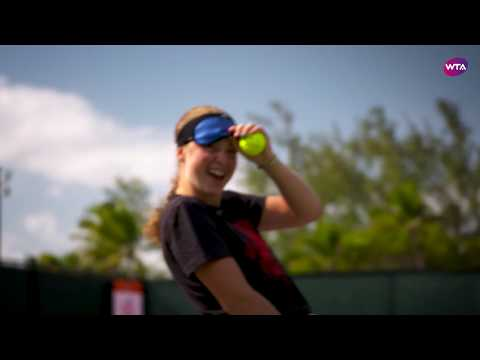 Jelena Ostapenko does the Blindfold Serve Challenge