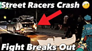 Street Racers Lose Control And (Crash) On Freeway Guy Gets (Sucker Punch)!!!