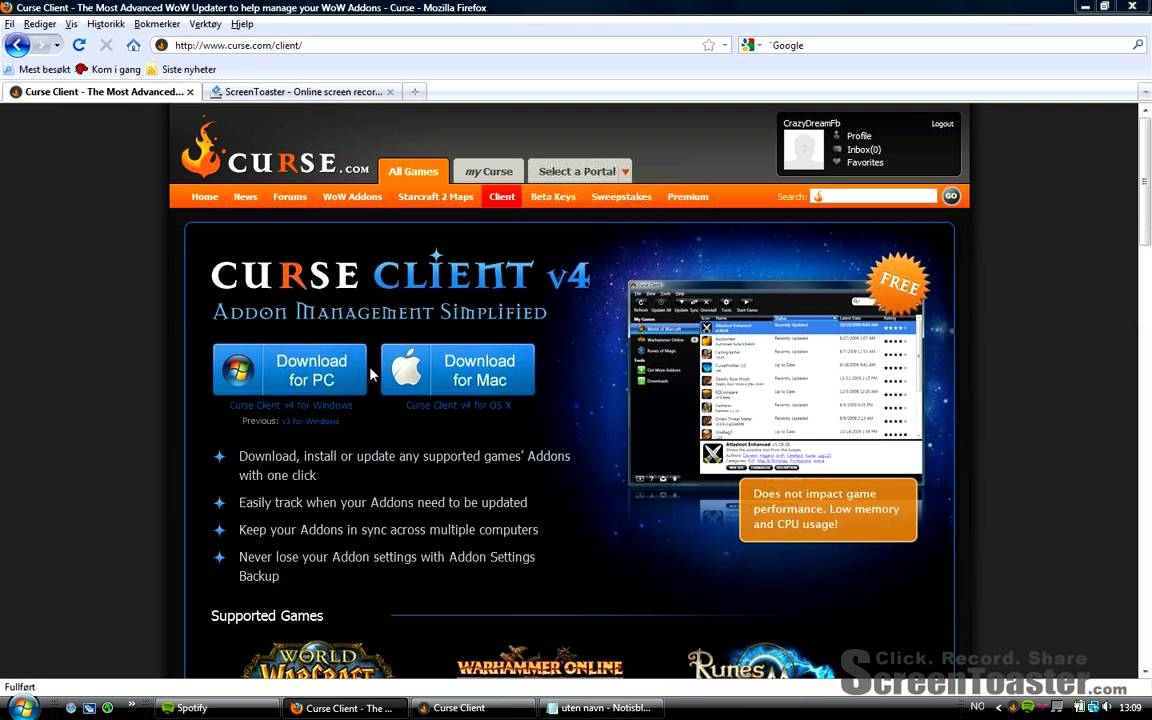 Managing game user interface add-ons with the curse client from.