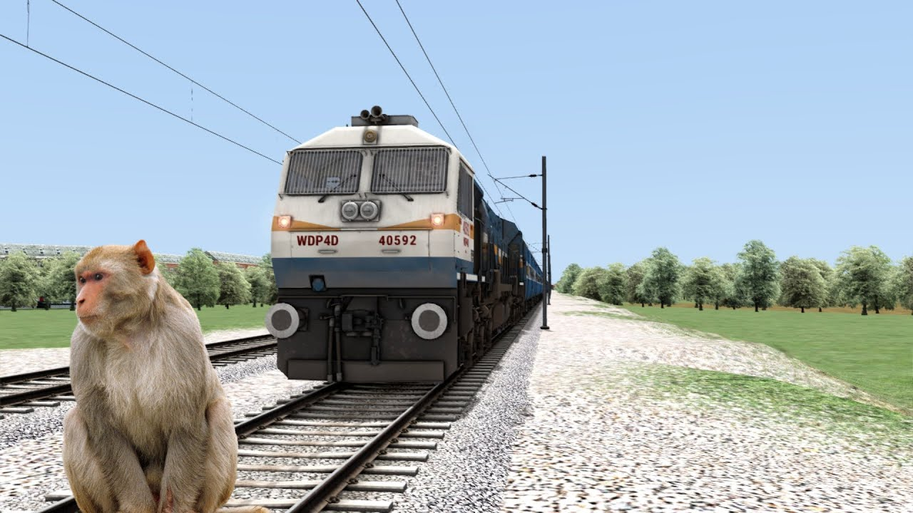 Crazy Bandar Mama Stops The Train and passes through the track in indian train simulator