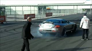 Mercedes SLR 722 in Action-Burnouts,Drifts,Accelerations/awesome LOUD Sound!!!