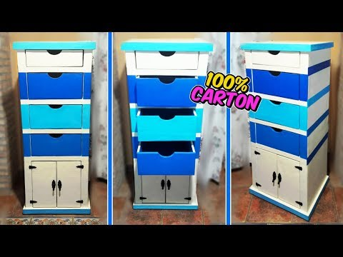 Awesome crafts that you can do with cardboard -  filing cabinet with drawers DIY - Mr. DIY