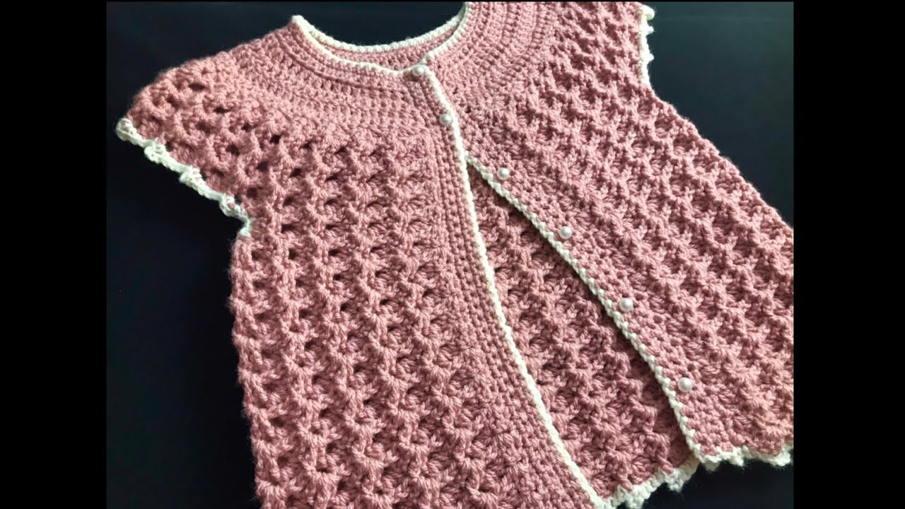 CROCHET SWEATER VEST FOR GIRLS 0-10 YEARS, CRYSTAL WAVES CROCHET STITCH LEFT HAND VERSION
