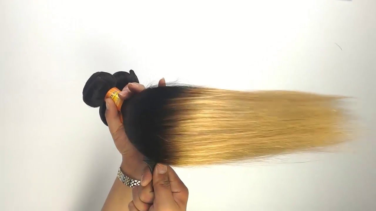 1b27 Blonde Brazilian Virgin Straight Hair Virgin Hair Weave 7a