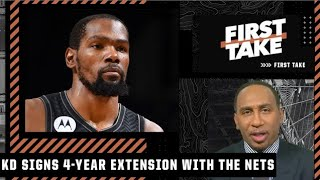 Stephen A. reacts to Kevin Durant signing a 4-year/$198M extension with the Nets