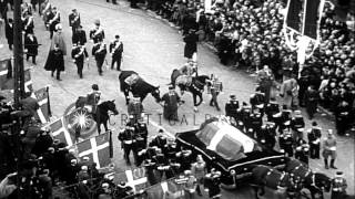 US Marine Corps, royal family and dignitaries in the burial procession of King Ch...HD Stock Footage