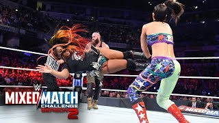 Bálor catapults Bayley into Moon to deliver a hurricanrana on WWE MMC