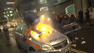 Million Mask March: Police Car Gets Set On Fire In London