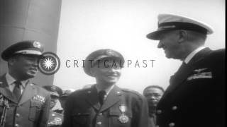 General Chiang Kai-shek in wardroom of  USS Swordfish with Commander Leddick and ...HD Stock Footage