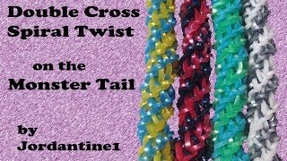 Double Cross Spiral Twist Bracelet made on the Monster Tail - Rainbow Loom