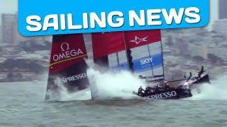 America's Cup: Big Crash / Emirates Team New Zealand Nosedive