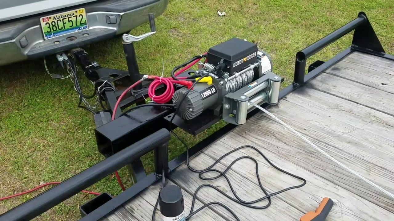Badland winch from harbor freight installed  YouTube