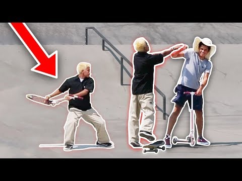 CUTTING SKATERS OFF WITH SCOOTER  (SKATER VS SCOOTER)