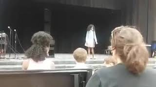 Mom Helps Daughter Get Through Stage Fright During Talent Show