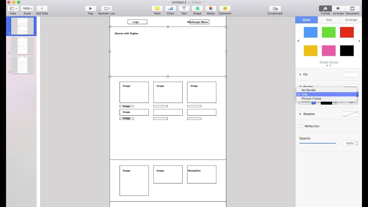 Making a Website Wireframe in Keynote - and exporting as  PDF