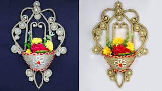 Easy Home Decor Jute Wall Hanging Flower Vase | Jute Wall Hanging Flower Vase Craft Idea