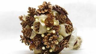 DIY : Свадебный букет зимний из шишек и бусин  wedding winter bouquet
