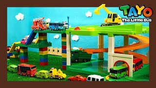 A Giant Slide for Everybody! l Heavy Vehicles Lego Play l Tayo the Little Bus