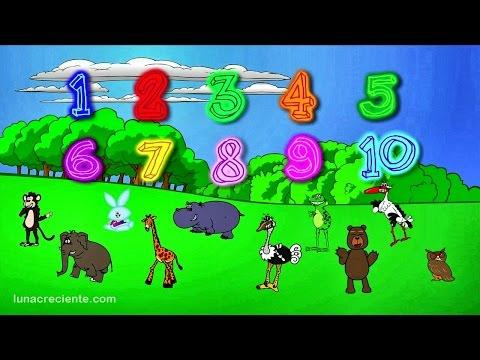 Números para niños en español - Aprender a contar del 1 al 10 con Los Animales del Zoo Lunacreciente