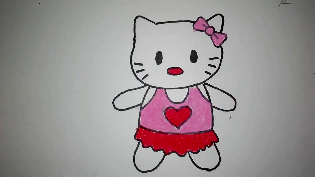 Cara Menggambar Boneka Hello Kitty Untuk Anak Tk Sd Youtube