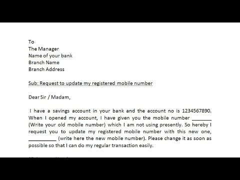 How To Write Application To Bank Manager To Change The Registered