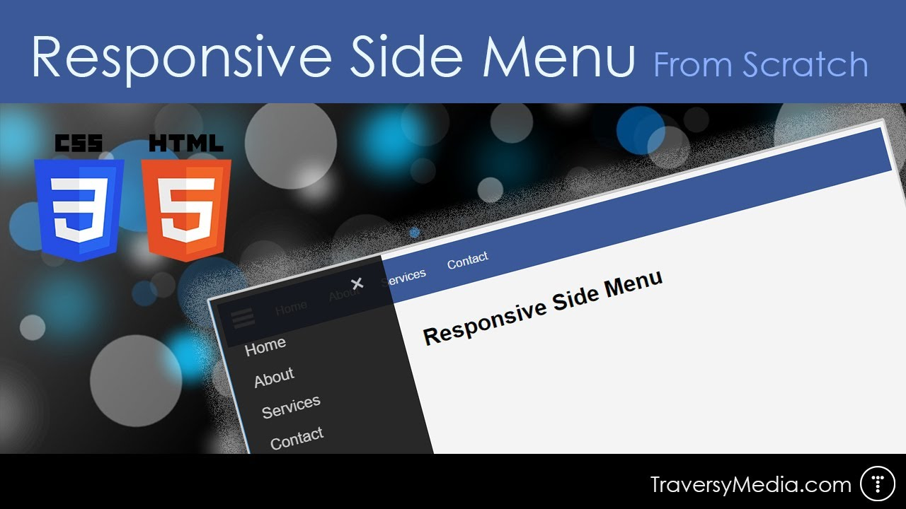 Responsive HTML & CSS Side Menu From Scratch