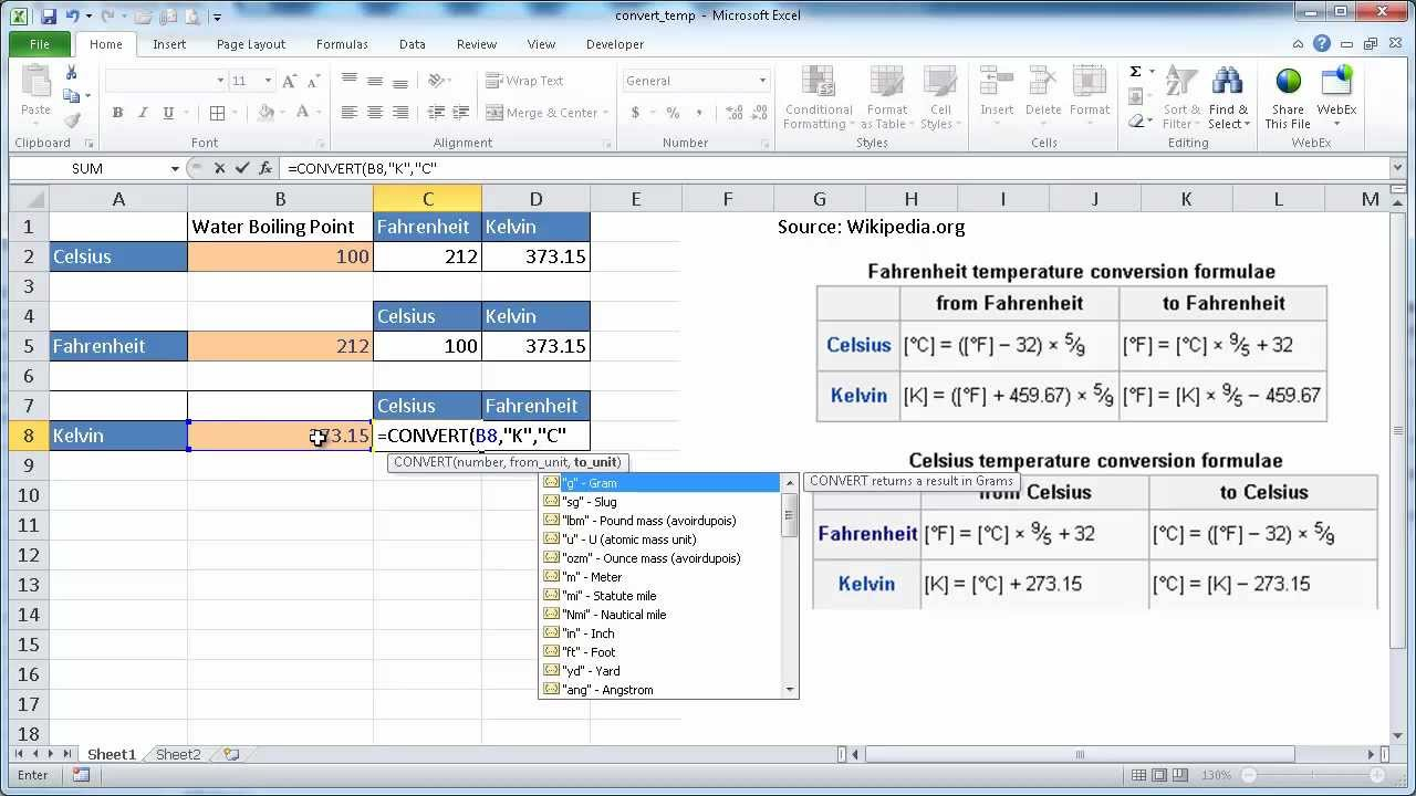 Convert temperature celsuis fahrenheit kelvin in excel youtube convert temperature celsuis fahrenheit kelvin in excel nvjuhfo Image collections