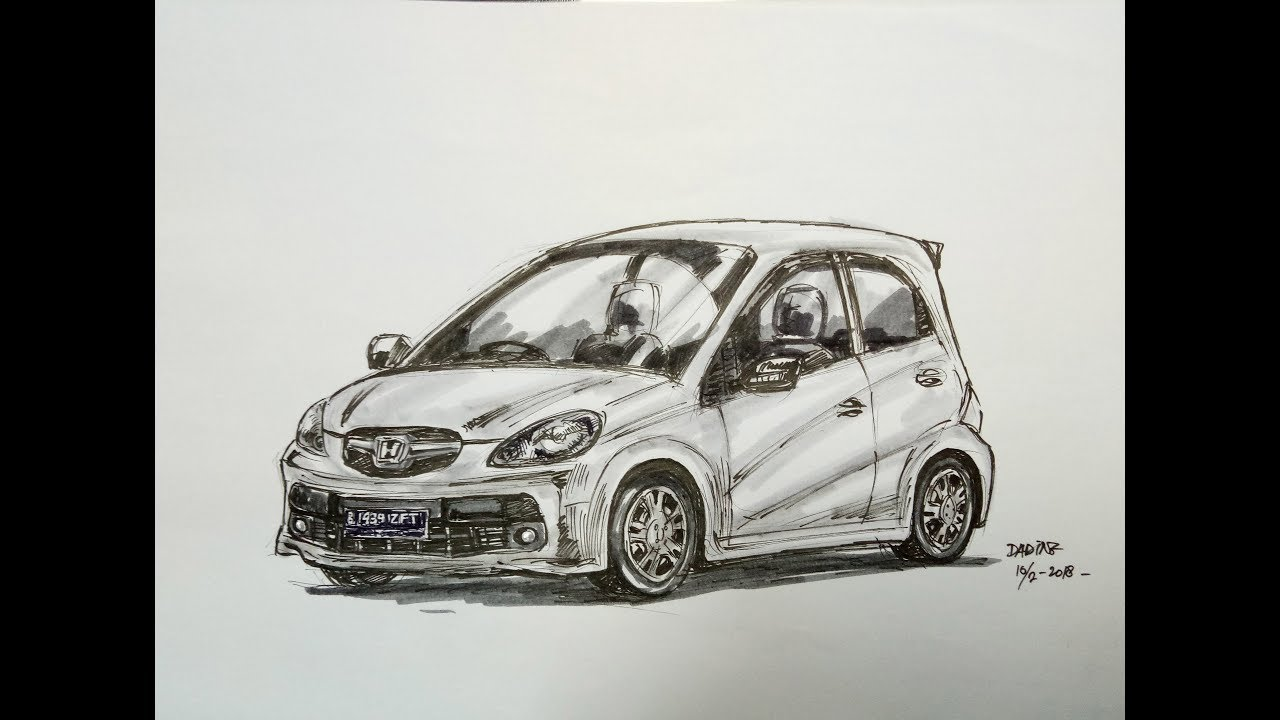 Menggambar Sketsa Honda Brio Dalam 25 Menit Dadingtimur Youtube