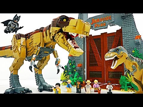 Lego Jurassic Park T. Rex Rampage! Batman! Defeat gigantic dinosaur! #DuDuPopTOY |
