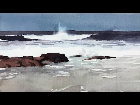 Watercolor Painting Of Rocky Beach