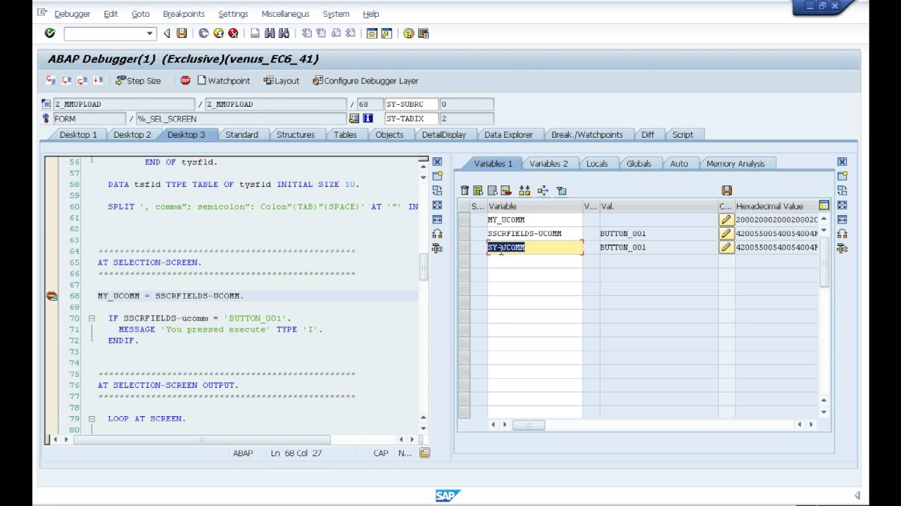 Pushbutton on Selection Screen in ABAP ( Video 18 )