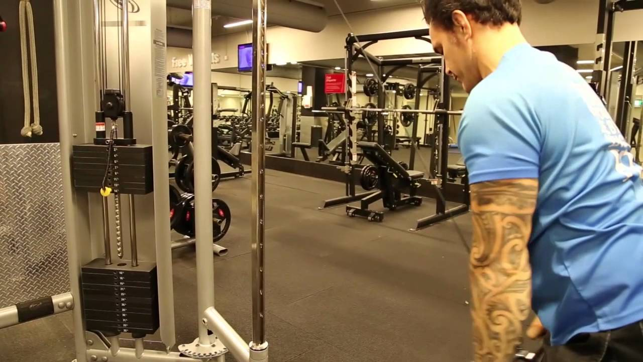 Back Standing Straight Bar Cable Lat Pulldown From The