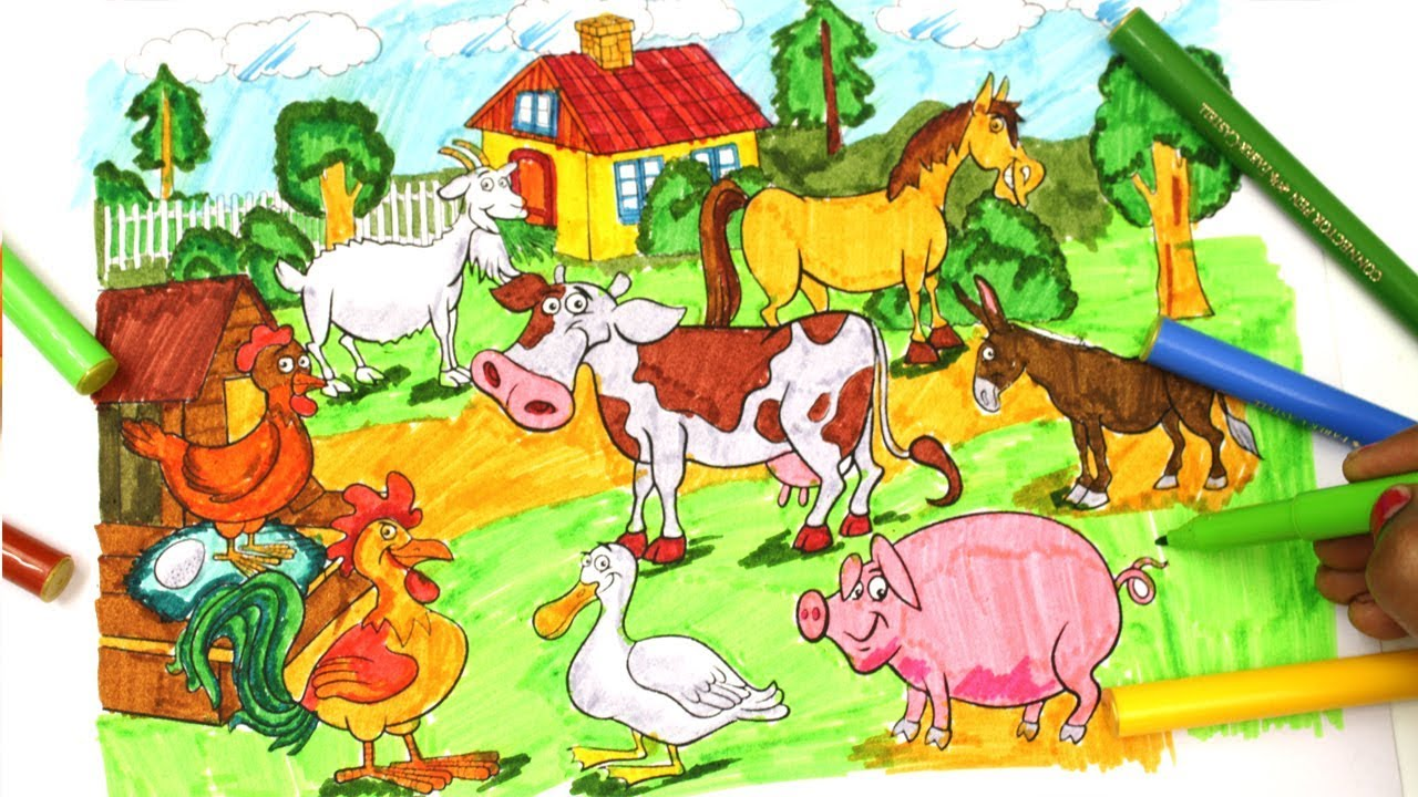 Coloring Pages Farm Animals: Duck, Cow, Dog, Cat and Color Flower ...