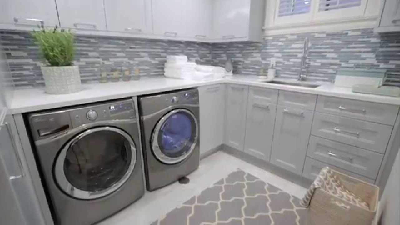 Interior design small storage filled blue grey laundry room renovation youtube - Laundry rooms for small spaces decoration ...