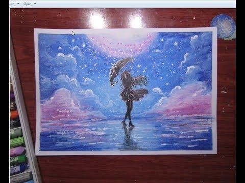 Vẽ tranh với sáp dầu – Vẽ tranh galaxy Cô gái cầm ô