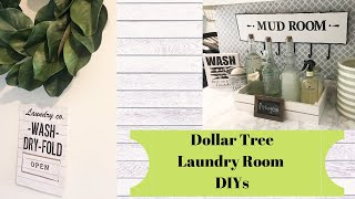 DOLLAR TREE LAUNDRY ROOM DIY DECOR // FARMHOUSE DECOR // LAUNDRY ORGANIZATION ON A BUDGET