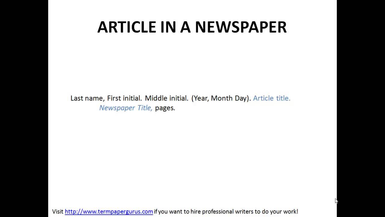 How To Cite An Article In A Newspaper In Apa Format Youtube