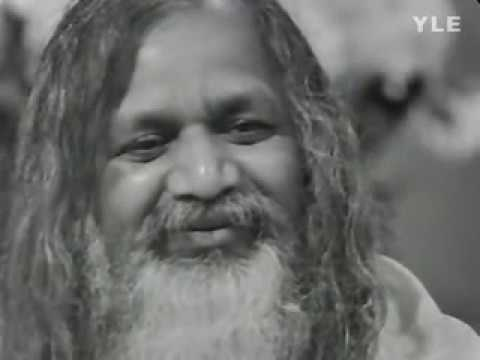 Maharishi meditates with a group on TV, Finland, 1973