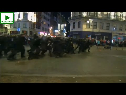 French riot police CHARGE at rioting English and Russian hooligans in Lille UEFA Euro 2016