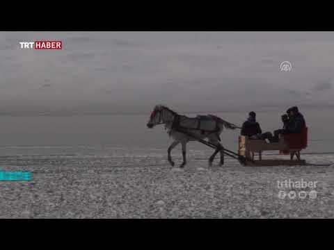 """Buz tutan Çıldır gölünde """"atlı kızak"""""""