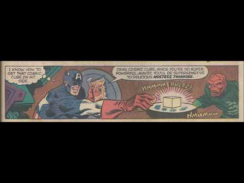 COMIC MAN PRODUCTION: HOSTESS TWINKIES CAPTAIN AMERICA RED SKULL THOR COMIC BOOK AD 1976