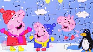 Свинка Пеппа - Зимнее веселье - Собираем пазлы для детей набор 4 в 1   Merry Nika
